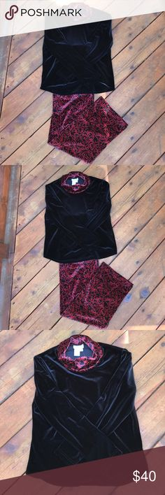 Coldwater Creek Lounge Set NWT Coldwater Creek Lounge/Pajama Set! Color is black with like a deep red/burgundy scroll pattern. Pull on elastic waist bottoms. Top has long sleeves with a cowl neck. Feels & looks like velvet. Perfect for the upcoming holidays for a chic Xmas morning pic, pair with slippers or shoes & be comfortable & chic preparing for your holiday guests & wear all day. I'd even go out in This to a restaurant it's that's fab prettier in person! 90% polyester 10% spandex…