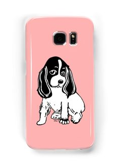 Black and White Cocker Spaniel Art Pink Samsung Galaxy Case by Abigail Davidson at Redbubble