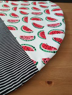 Watermelon play mat, split detailing with black and white stripes. Little Swan Designs Burp Cloths, Swan, Playroom, Watermelon, Stripes, Kids Rugs, Black And White, Trending Outfits, Handmade Gifts