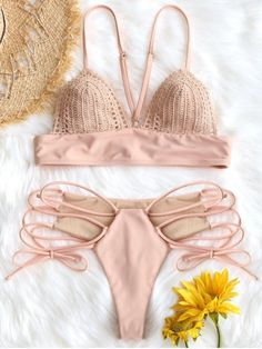 Shop for Bralette Crochet Panel Lace Up Bikini Set PINK: Bikinis S at ZAFUL. Only $16.99 and free shipping!