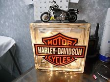 Harley Davidson Glass Block Light Lamp with Motorcycle on Top