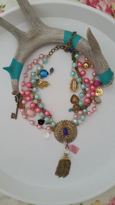 Mixed Media Chunky Statement Necklace by PoshPiecesbyMelissa