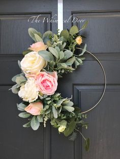 The Whimsical Door Boho hoop wreath bohemian floral wreath wedding wreath bridal wreath baby shower wreath rose wreath Farmhouse wreath floral hoop wreath Modern summer wreath lambs ear wreath Our bohemian hoop wreath has a mix of flowers and gorgeous gre Baby Kranz, Wedding Wreaths, Wedding Decorations, Floral Decorations, Outdoor Decorations, Wedding Flowers, Wedding Ideas, Floral Hoops, Deco Floral