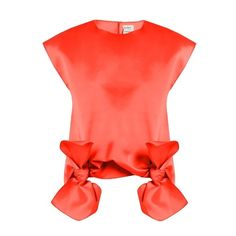Maison Rabih Kayrouz Tie-front sleeveless top (5,895 MXN) ❤ liked on Polyvore featuring tops, orange, red satin top, red sleeveless top, orange top, neon top and sleeveless tops