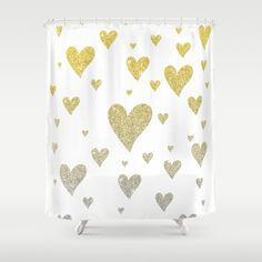 Glitter Hearts - Shower Curtain by Psychae | Society6