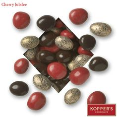 Celebrate beautifully with a mix of dark and red chocolate cherries, glazed almonds and chocolate and gold jeweled almonds