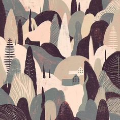 Little boxes on the (steep) hillside. What a trek it'd be!  #Illustration by @willian_santiago. I  the printmaking-inspired style. by brwnpaperbag