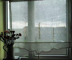 Linen curtain embroidered Art Nouveau
