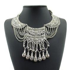 2015 bohème Antique argent collier pompon millésime gitane turc à la mode indienne ethnique collier pour femmes mode bijoux dans Colliers de chaînes de Bijoux sur AliExpress.com   Alibaba Group