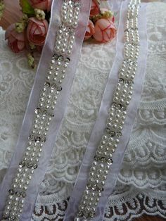 Pearl Beaded Trim Wedding Beaded Applique For by lacelindsay