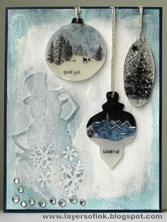 """Love shrink plastic -- Anna-Karin's card.  """"This card is for the Hero Arts October challenge (holiday card theme). I was playing around with shrink plastic the other day and got the idea of making baubles out of shrink plastic."""""""