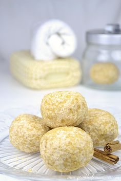 bath truffles  You will need: – 1/2 cup baking soda – 1/4 cup citric acid – about 4 table spoons melted cocoa or Shea butter – 1-2 tea spoon ground cinnamon – a few drops of cinnamon essential oil (optional) – brown suggar