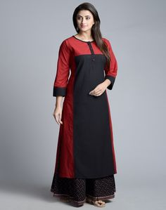 Cotton Kalidar Contrast Panel Long Kurta-Black: Buy Fabindia Cotton Kalidar Contrast Panel Long Kurta-Black Online in India. – Fabindia.com