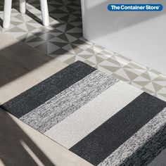 Our Chilewich Mats are made by tufting custom yarns as loops onto a primary backing and then binding them onto a hardworking vinyl that can stand up to any weather. They're ideal for bathrooms, outdoor terraces, pool areas and entryways and are a breeze to clean. You can either shake or hose down depending on how dirty your Chilewich Mats are. Bold Stripes, Stripes Design, Grey Door Mats, Entryway Organization, Transitional House, Wooden Flooring, Porch Decorating, Floor Mats, Indoor Outdoor