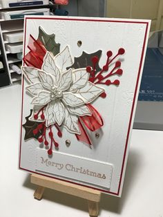 Stamped Christmas Cards, Beautiful Christmas Cards, Hand Stamped Cards, Christmas Cards To Make, Xmas Cards, All Things Christmas, Holiday Cards, Christmas Crafts, Poinsettia Cards