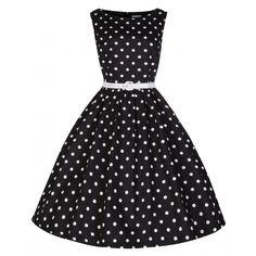 'Audrey' Black Polka Dot Swing Dress