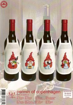 Gnome Wine Bottle Aprons - cross stitch kit by Permin of Copenhagen - Brightly coloured fun additions to your Christmas table. Cross Stitch Borders, Cross Stitch Baby, Cross Stitch Charts, Cross Stitching, Cross Stitch Embroidery, Cross Stitch Patterns, Cross Stitch Needles, Christmas Decorations, Christmas Ornaments