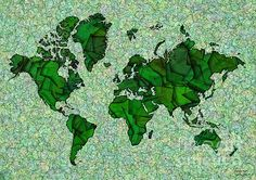 World Map Takkede In Green by elevencorners. World map wall print decor. #elevencorners #maptakkede