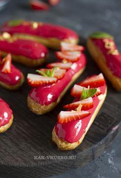 kak-vkusno.ru -ЭКЛЕРЫ. ПОДРОБНЫЙ МАСТЕР-КЛАСС -вкусный магазин Eclairs, Profiteroles, Pastry Recipes, Sweets Recipes, Eclair Recipe, French Patisserie, Choux Pastry, Cupcake Flavors, Savoury Baking