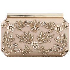 Oscar De La Renta Saya Satin Clutch ($1,990) ❤ liked on Polyvore featuring bags, handbags, clutches, bolsas, floral clutches, flower print handbags, floral handbags, embroidered purse and beaded purse