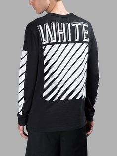 OFF WHITE C/O VIRGIL ABLOH BLACK 3D WHITE LONG SLEEVES T-SHIRT Off White Virgil Abloh, Off White Mens, Mens Fashion Online, White C, Fashion Branding, White Long Sleeve, New Outfits, Street Wear, Menswear