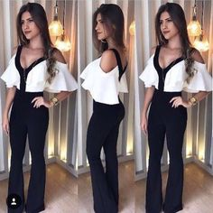 Women Two Piece Set Jumpsuit Colour:- Black Size:- Small To XL Price:- Re Shipping Worldwide WhatsApp Cool Outfits, Fashion Outfits, Womens Fashion, Fashion Trends, Mode Rockabilly, Start Ups, Mode Style, Casual Looks, Dress To Impress