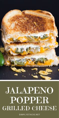 Jalapeno Popper Grilled Cheese Sandwich - Take your lunch to a whole new spicy level! National Grilled Cheese Day, Best Grilled Cheese, Grilled Cheese Recipes, Spicy Recipes, Raw Food Recipes, Grilled Cheeses, Easy Recipes, Vegetarian Recipes, Grill Sandwich