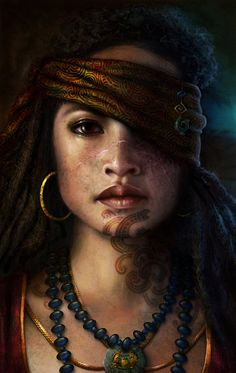 """Maori Pirate Princess"" - Nathascha Friis, photoshop {figurative realism art beautiful female head scar young woman face portrait digital painting} artbynath.deviantart.com"
