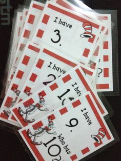 """My Dr. Seuss """"I have/Who has"""" numbers 1-30    Clipart from Scrappin Doodles and The 3am Teacher"""
