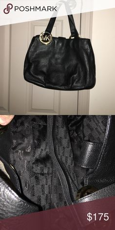 Michael Kors bag Michael Kors Fulton bag. Soft, black leather with the MK emblem on each side. Inside has 3 sections. Middle section is a zippered section and there are pockets on either side. Closed together at the top with a snap. Michael Kors Bags Shoulder Bags