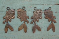 Brass Fish Charms Hand Oxidized Left & by TeapotsandTelephones, $2.95