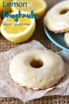 Family and friends will be asking for more when you make them these sweet, tangy, vegan baked lemon doughnuts with lemon glaze! Instructions on how to make them vegan or vegan and gluten-free are included! #vegandoughnuts #vegandonuts #glutenfreedougnuts #glutefreedonuts #veganglutenfree