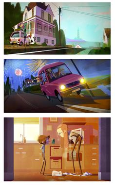 Headless is an independent animation studio based in Barcelona. We are Adrian Garcia, Alfredo Torres and Victor Maldonado. Cartoon Background, Animation Background, Art Background, Environment Concept, Environment Design, Character Design References, Character Art, Color Script, Animation Reference