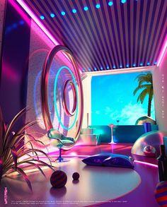 Space Escape Illustration Series - Dr Wong - Emporium of Tings. - Digital Painting - Space Escape Illustration Series – Dr Wong – Emporium of Tings. Hotel Lobby Design, Neon Aesthetic, Aesthetic Rooms, Vitrine Design, Futuristic Interior, Futuristic Bedroom, Futuristic Design, Neon Led, Neon Room