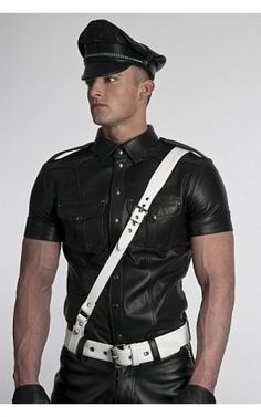 PREMIUM SYNTHETIC LEATHER MILITARY POLICE UNIFORM SHIRT FRONT ZIP CONTRAST BLUF
