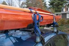 """Because the """"right way"""" to do something is by definition not the wrong way, let us begin with some glowing examples of the wrong way to tie down your kayak (or… Kayak Equipment, Truck Camper Shells, Skin Diver, Kayak Rack, Kayak Adventures, Water Toys, Roof Rack, Get Outside, Canoe"""