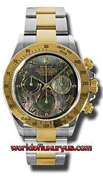 116523-DKM - This Rolex Oyster Perpetual Cosmograph Daytona Mens Watch, 116523-DKM features 40 mm Stainless Steel case, Mother of pearl dial, Sapphire crystal, Fixed bezel, and a 18K Yellow gold bracelet. Rolex Oyster Perpetual Cosmograph Daytona Mens Watch, 116523-DKM also features Automatic movement, Analog display. This watch is water resistant up to 100m/330ft. - See more at: http://www.worldofluxuryus.com/watches/Rolex/Daytona/116523-DKM/641_645_6529.php#sthash.UStELJqM.dpuf