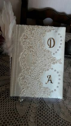 Wedding Bible, Wedding Album, Wedding Guest Book, Scrapbook Cover, Scrapbook Albums, Scrapbooking Layouts, Shabby Chic Journal, Photo Album Book, Diy Mothers Day Gifts