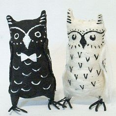 Vintage Style Spun Cotton Owls in Love Wedding Cake Topper Made to Order