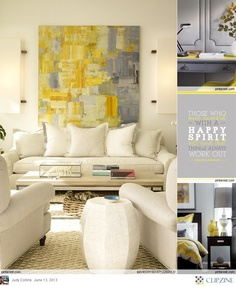 Yellow & Gray Living Room. Tan/Cream Colored Couch. Love the Painting <3