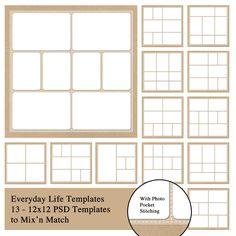Everyday Life 12x12 Photobook Templates with stitching around each pocket