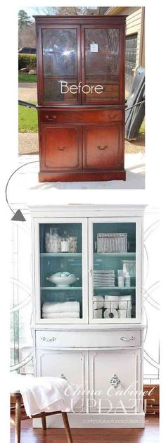 Awesome DIY Furniture Makeover Ideas: Genius Ways to Repurpose Old Furniture With Lots of Tutorials - For Creative Juice Thrift Store China Cabinet Makeover. Give your old cabinet a new shabby chic look with some paint and hardwares! Furniture Projects, Home Furniture, Furniture Design, Bedroom Furniture, Painting Furniture, Furniture Stores, Luxury Furniture, Office Furniture, Furniture Plans