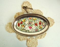 Mosaic Dish Silver Plated Vintage by ReclaimedDesigns on Etsy, $25.00