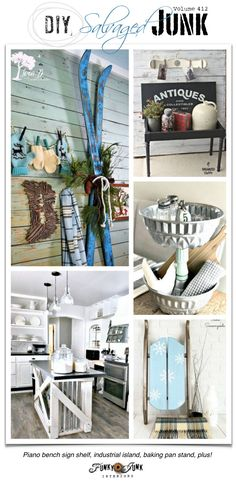 DIY Salvaged Junk Projects 412 - Piano bench sign shelf, industrial island, baking pan stand, plus! Features and NEW junk projects on Funky Junk Interiors