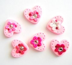Button Bling Pink Hearts handmade polymer clay by digitsdesigns, $8.50