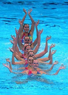 Ukraine compete in the Synchronized Swimming Team preliminary round on day four of the 15th FINA World Championships at Palau Sant Jordi on July 23, 2013 in Barcelona, Spain.