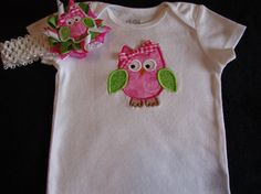 Girls Owl Bodysuit Clothing Toddlers Baby Onesie Embroidered Set Accessories Headband Owl Clip on Etsy, $30.00