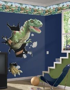 Custom dinosaur canvas wall art and decals in a kids for Dinosaur pictures for kids room