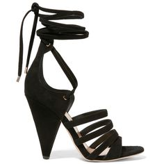 Tamara Mellon Cosmic Trip suede sandals ($670) ❤ liked on Polyvore featuring shoes, sandals, black, block heel sandals, black suede sandals, high heel sandals, black lace up shoes and tie sandals