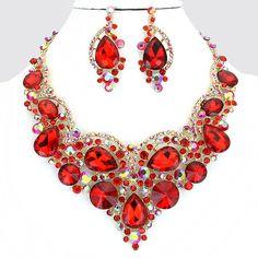 Red Gold Crystal Rhinestone Teardrop Necklace Bib Collar Pendant Earring Set